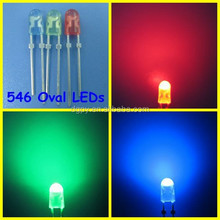 Factory Cheap Price high lumens dip 546 5mm oval led diode Green Red Blue