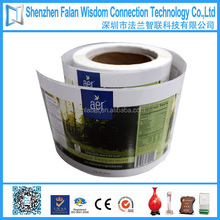 Waterproof glossy paper/plastic customized roll printed self adhesive label
