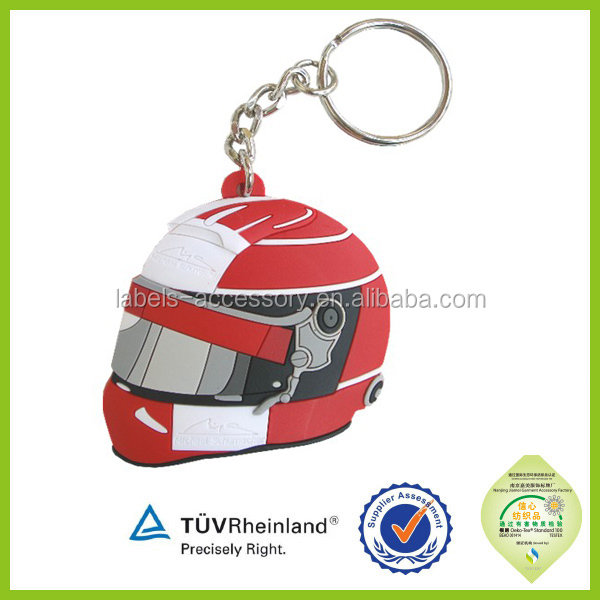 cheap custom rubber 3d the motorcycle keychain helmet keyring