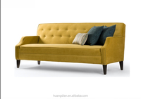 wholesale very cheap price furniture for living room yellow velvet fabric 3 seater sofa