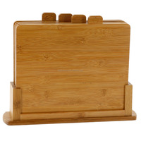 customized 4 pieces pizza board, bamboo cheese cutting board vegetable chopping board with stand