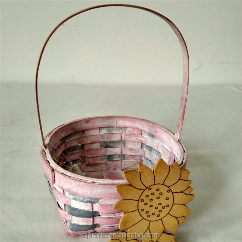 food /flower round wood chip basket with handle