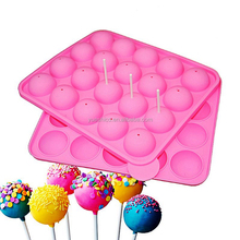 20 Holes Lollipop Molds Silicone Baking Cake Mold Round Chocolate Fondant CupCake Decorating Tools With Stickers