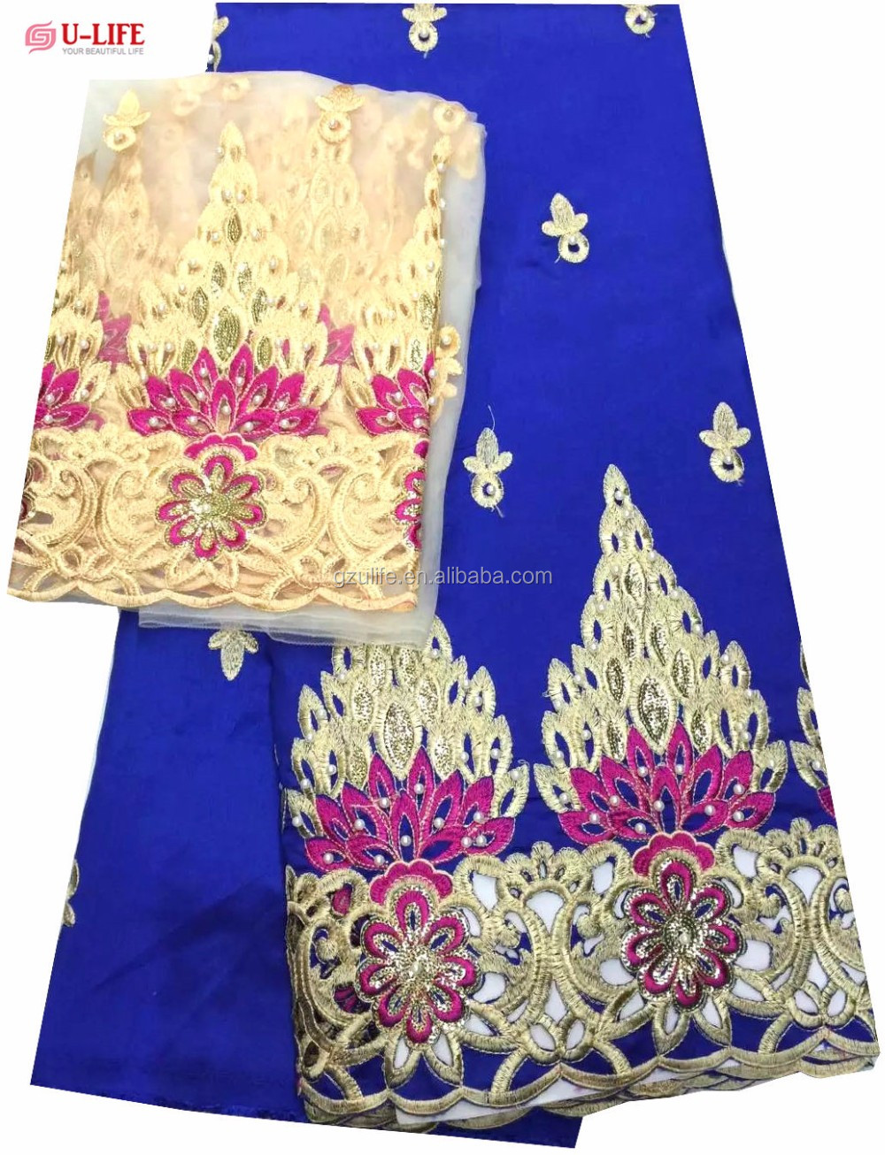 High Quality Royal Blue Beaded Embroidery India George Wrappers with Blouse for Nigeria PartyG1078)