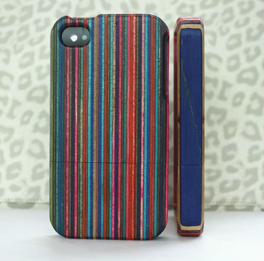 Colorful stripe wood case back cover for iphone 4g 4s