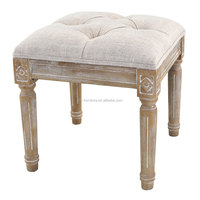 french home furniture oak wood frame linen upholstered ottoman