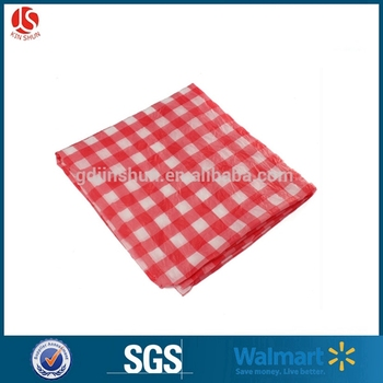 Red and white plastic tablecloth checkered table cover