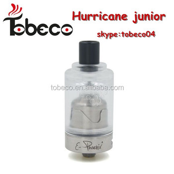2016 Tobeco newest hurricane junior atomizer hot sale hurricane junior with 1:1 original clone hurricane rda/rta