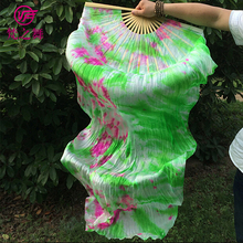 P-9074 New arrival dyed 100% real silk long belly dance fan veil with size 1.8m and 1.5m