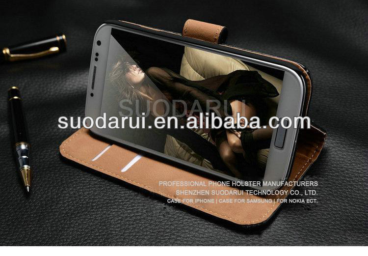 High Quality Luxury Leather Stand Wallet Case For Samsung Galaxy S4 Mini i9190, Business Card Pockets