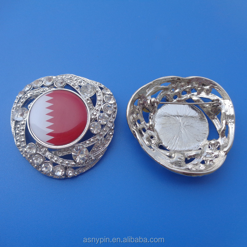 customized personal Bahrain badge pin for national day, metal crystal pin badge for promotional gift