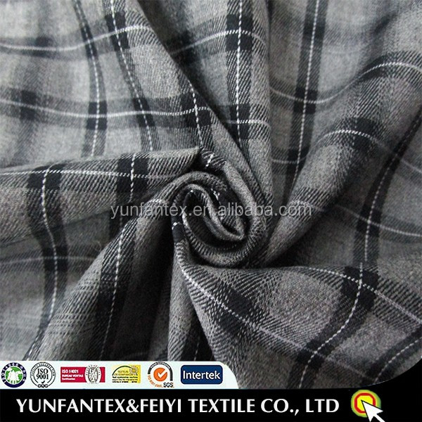 2016 yarn dyed peach combed twill plaid 100% cotton fabric in grey color