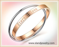 China fashion jewelry wholesale two tone eternal love stainless steel bracelet 2014 new design