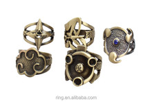 New Naruto Rings jewelry Sasuke Konoha Kaleidoscope Written Round Eye Rings Vintage Bronze Men And Boy Rings