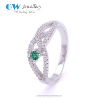 Online Shop China Wholesale 925 Silver Green Stone Ring Wedding Ring Finger Tattoo Designs
