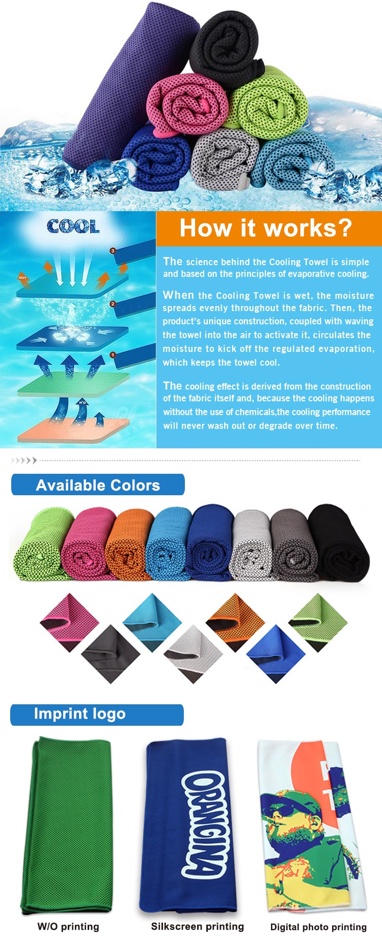 Hot Sell Ice Fabric Instant Cooling Towel Camping Hiking Gym Workout Towel Cool