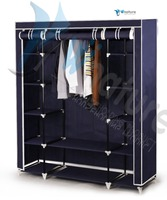Double canvas fabric clothes portable wardrobe closet storage shelf