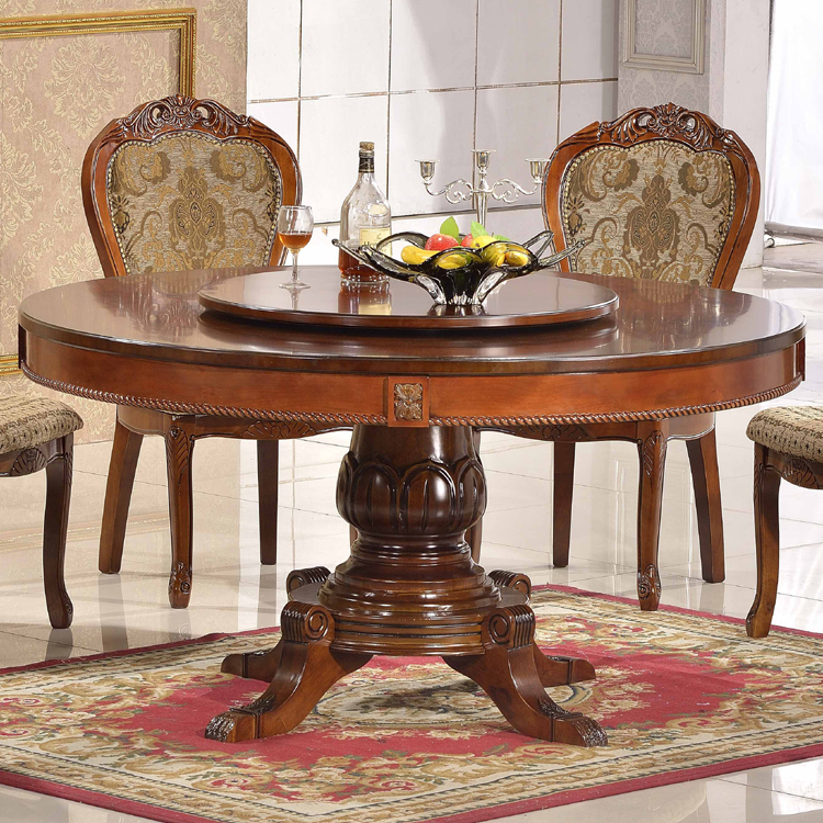 Wooden Material and Chinese Antique Appearance MDF top round dining table