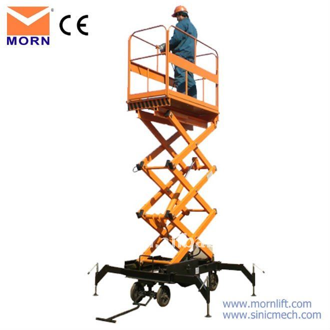 trailing mobile scissor diesel industrial lifts brand