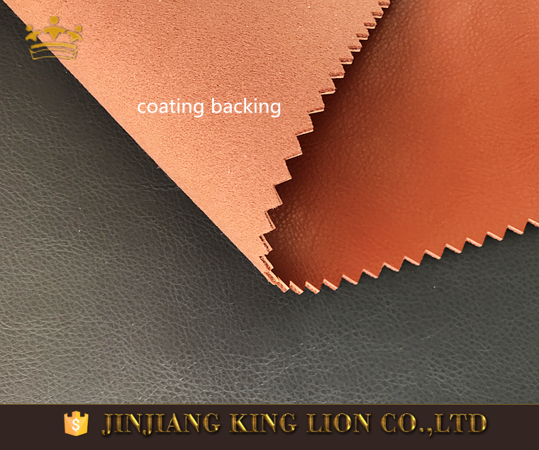 Coated backing rexine pu litchi grain leather for shoe making
