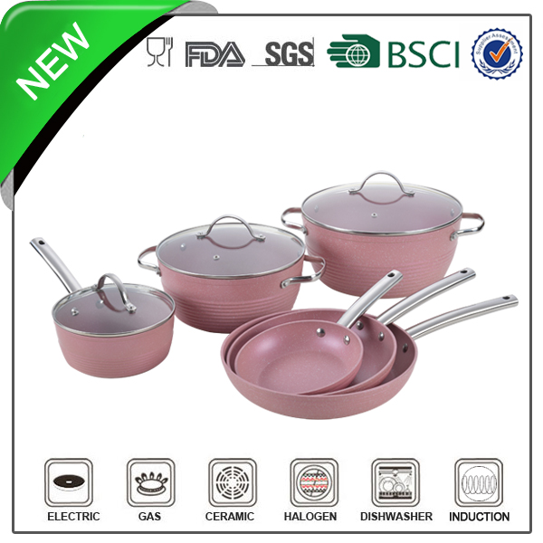 marble coating stainless steel handle Aluminum color enamel cookware