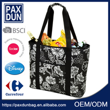 BSCI floral printed fashion 30 can cooler bag lunch, insulated picnic grocery bags,reusable vinyl tote shopping bag