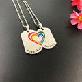 2PCS Couple Necklace Stainless Steel Rainbow Heart Matching Dog Tag Pendant Chain