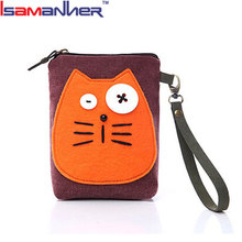 Korean female cat lovely cheap canvas coin pocket