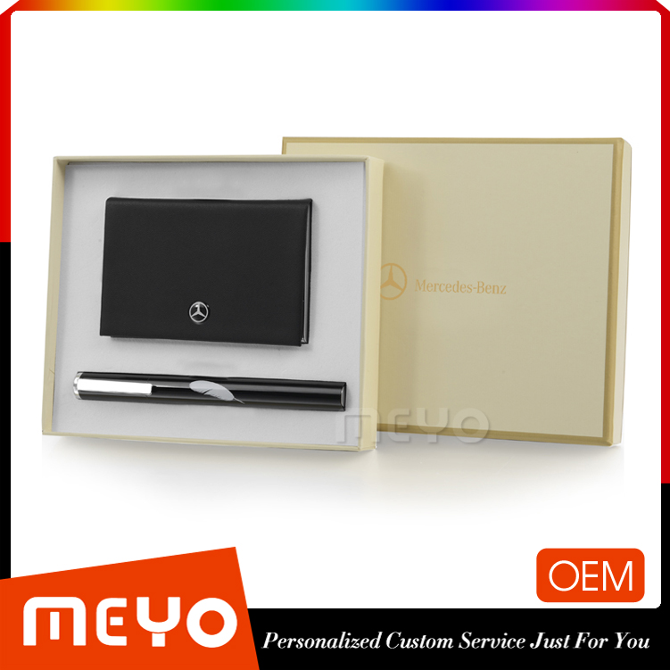 Luxury metal ball point pen and leather credit card case holder gift set