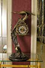 Vintage Bird Landing on Branch Decorated Table Clock, Antique Design Table Clock with Marble Base