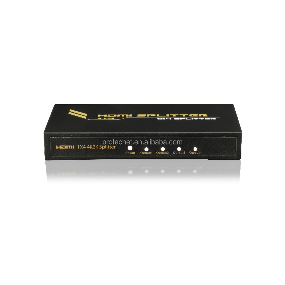 Best 1.4v iron housing 4 ports hdmi splitter 1 to 4 supports full 3D format and 4Kx2K HDCP 1.3 12 bit deep color
