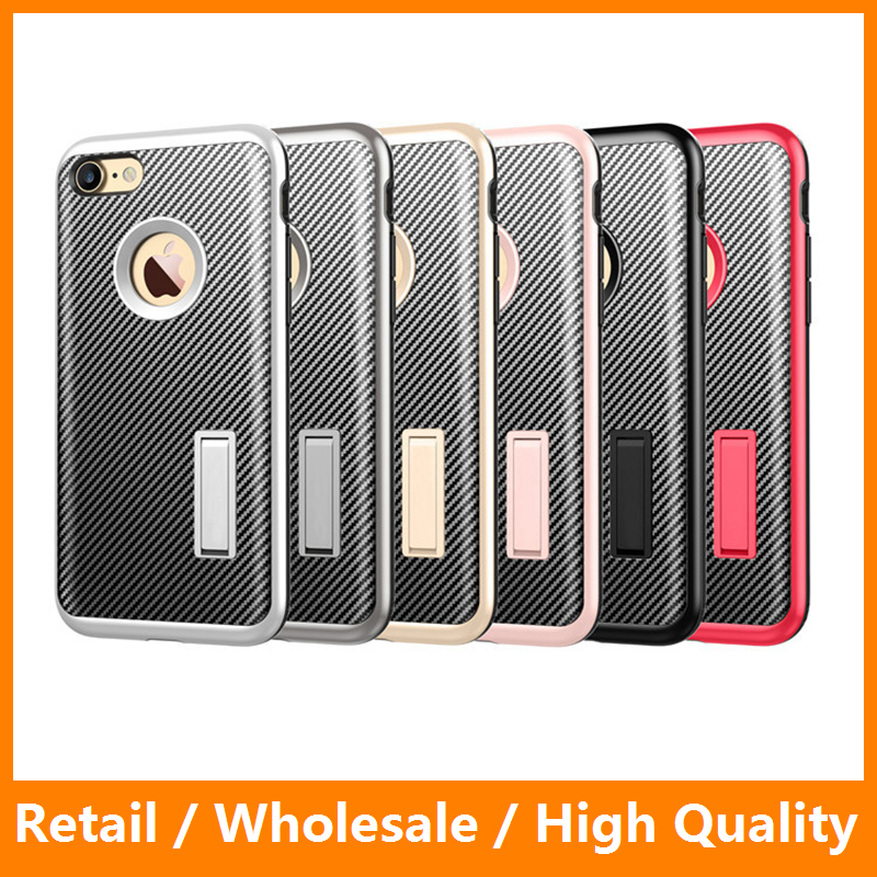 Carbon Fiber Case for iPhone 7 7 Plus Plastic Cover Hard Back Case for iPhone 5 5s 6 6s 6 Plus with Stand Function