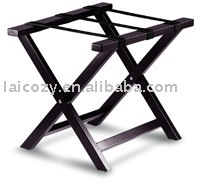 Hotel room wooden luggage rack