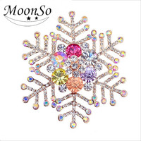New Arrival Merry Christmas Snowflake Shape Colorful Crystal real gold plated Brooches AB3722