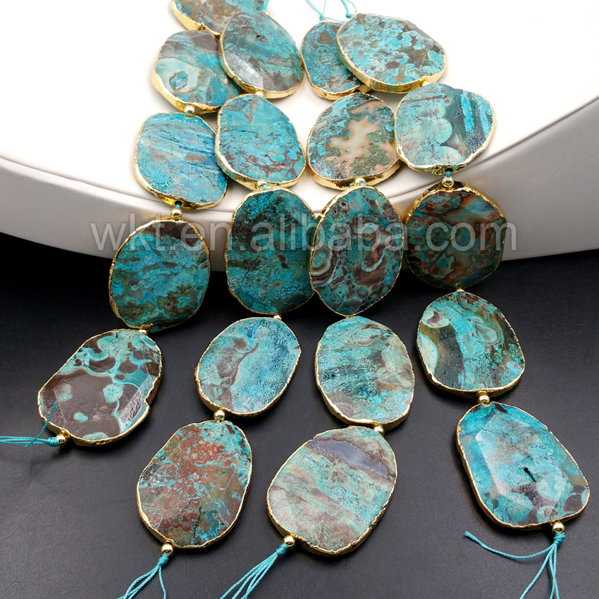 WT-G194 Wholesale Hexagon Ocean Jasper Stone ,40*50mm Hexagon Shape Faceted jasper Stone with Gold plated