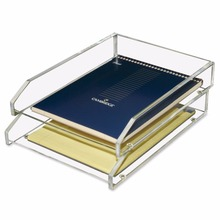 Acrylic Clear Double Letter Tray, 4 3/4 x 14 x 10 1/2 Inches