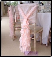 Elegant blush pink chiffon ruffled chair covers wedding curly willow chair sash