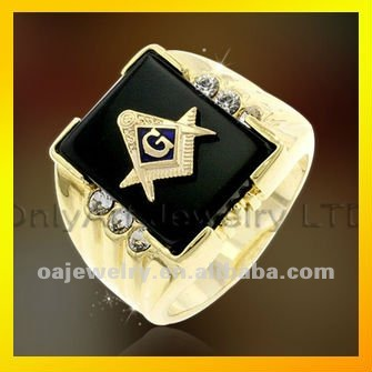 fast shipping latest masonic jewelry ring with black CZ paypal