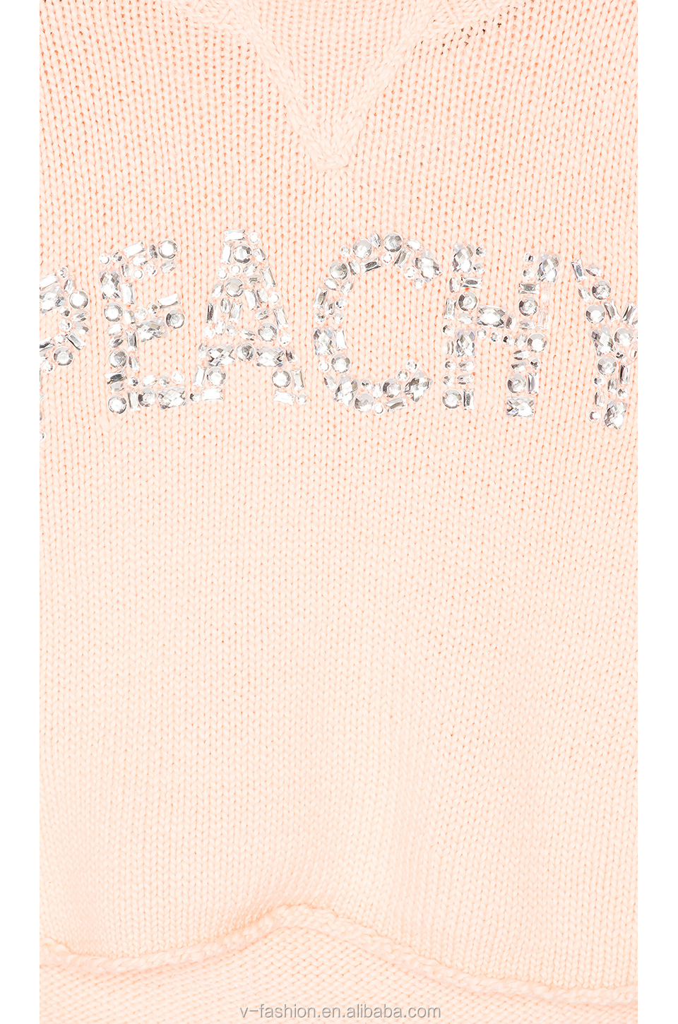 Fancy pink long sleeve beaded knitted sweater for women