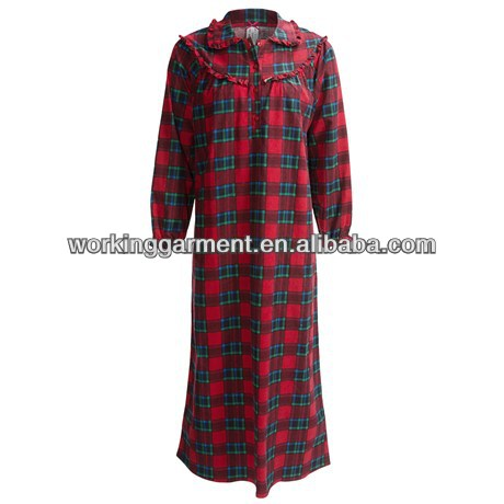 ladies brushed Cotton Flannel Nightgown with Ruffled collar and Elastic cuffs