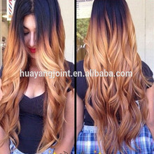Dark Root three tone ombre color full lace wigs human hair blonde virgin brazilian remy long lace front wigs wholesale price