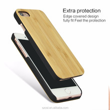 Factory supply wood bamboo with pc edge to Protect phone case for iphone se 4