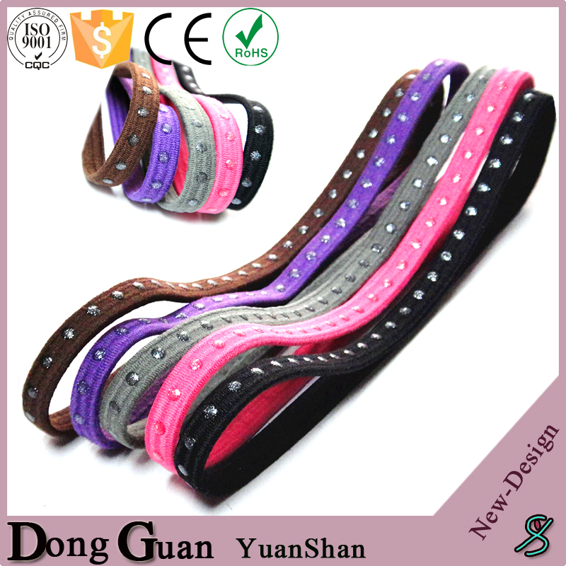 Custom Polyester Plain Elastic Point Silicone Headband