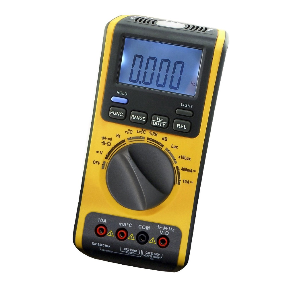 5in1 Digital Double Insulation Auto /Manual Ranges Multimeter Thermometer Lux Sound Hygrometer Meter