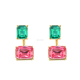 Jewelry Ruby emerald double sided earrings