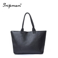 Free shipping Women PU Leather Tote Handbag Hot Sale Shoulder Bags Fashion Design Large Capacity PU Weave Bags
