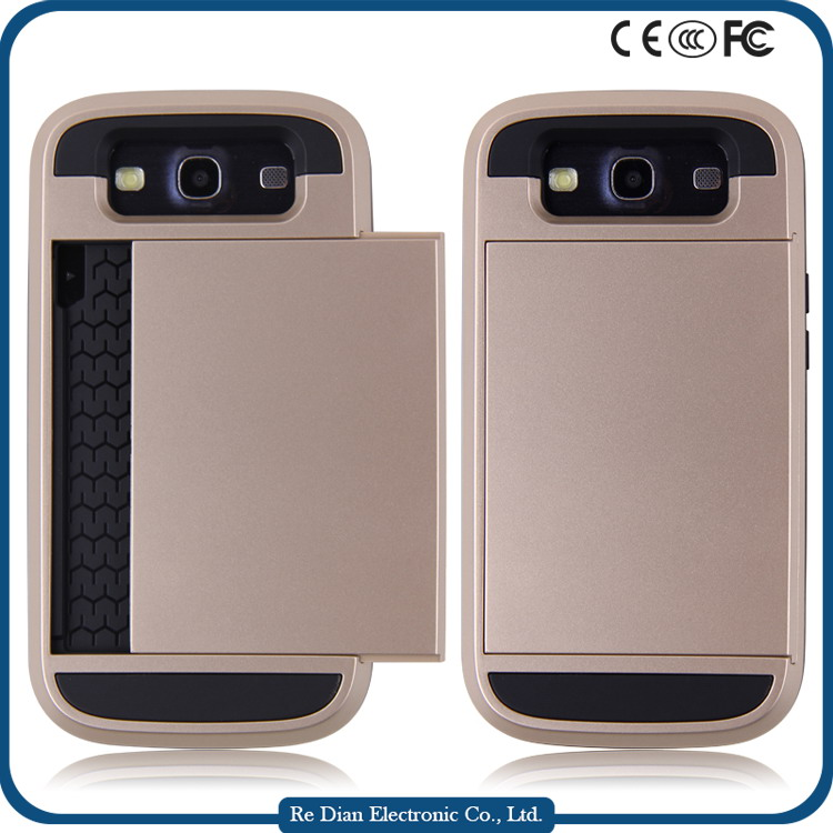 Shockproof Mobile Phone TPU PC Case Cover with Card Slot For Samsung Galaxy S3 i9300