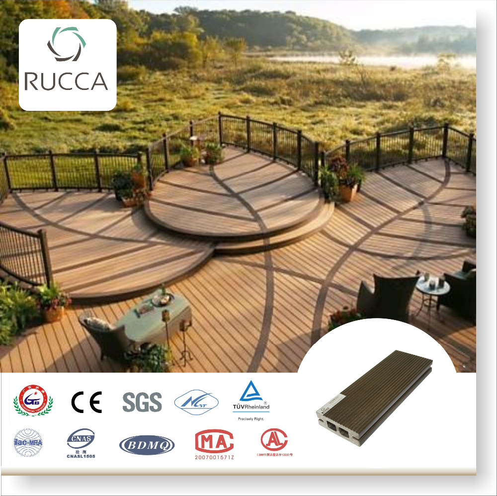 2016 Wood Plastic Cpmposite polular balcony decking 70*25mm exterior timber flooring new technology China building materials