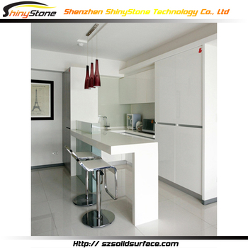 Lovely Designer White Glossy Finish Solid Surface/artificial Marble Modern Home  Mini Bar Counter Design For