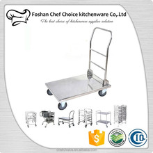 Stainless Steel Bellman's Cart Square Tube Fodable Hotel Luggage Cart Heavy Duty Platform Trolley Folding Hand Cart